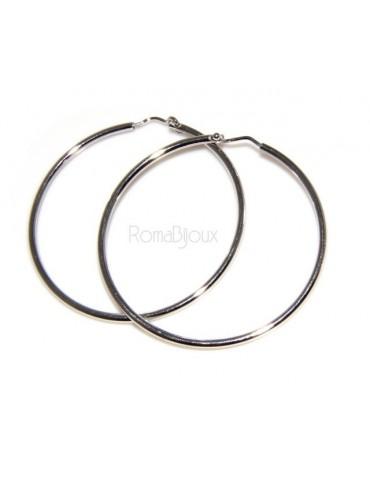 Argento 925 : orecchini donna anelle cerchi boccole lisce classiche 26,0 mm