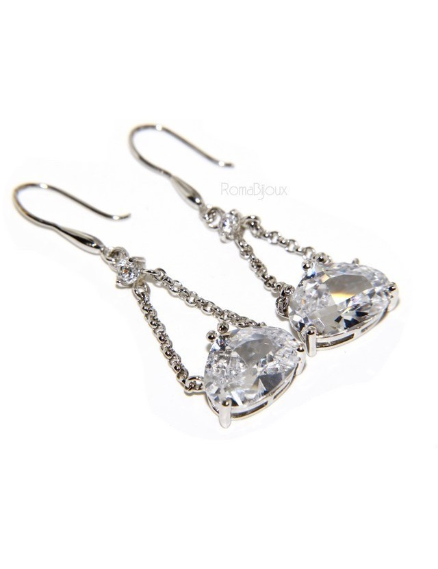 925 Rhodium-plated earrings with chains and pendants large zircon