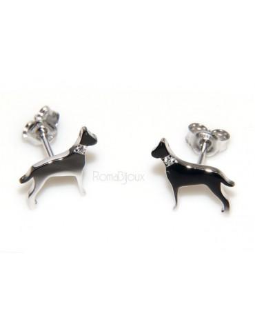 925: man woman stud earrings dalmatian dog / setter collar zircons