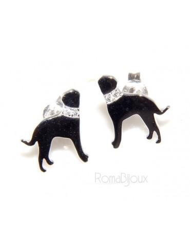 925: earrings man woman pin rottweiler dog collar zircons