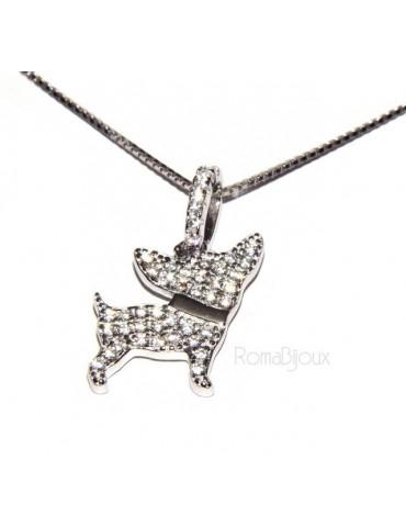 925: My Dog Venetian woman necklace with pendant dog chiwawa microsetting brilliant cubic zirconia