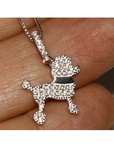 925: My Dog Venetian woman necklace with pendant dog poodle pendant microsetting brilliant cubic zirconia