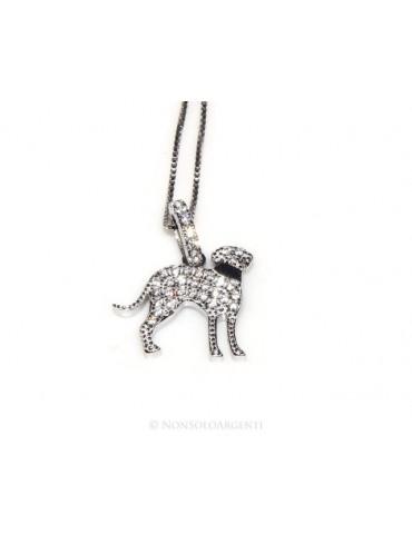 925: My Dog Venetian woman necklace with pendant dog Bracco microsetting brilliant cubic zirconia
