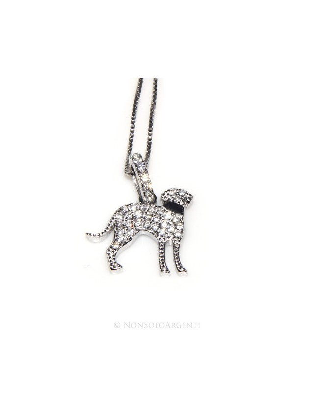 925: My Dog Venetian woman necklace with pendant dog Bracco microsetting brilliant cubic zirconia