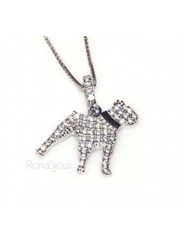 925: My Dog Venetian woman necklace with pendant dog Pitbull microsetting brilliant cubic zirconia