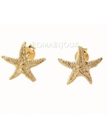 Argento 925: orecchini al lobo con stella marina media galv. oro giallo
