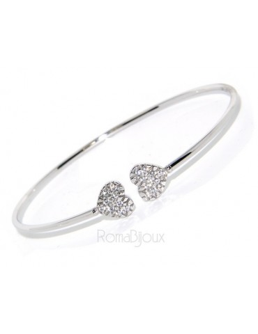 SILVER 925: open bracelet slave woman's heart hearts natural zircons shining