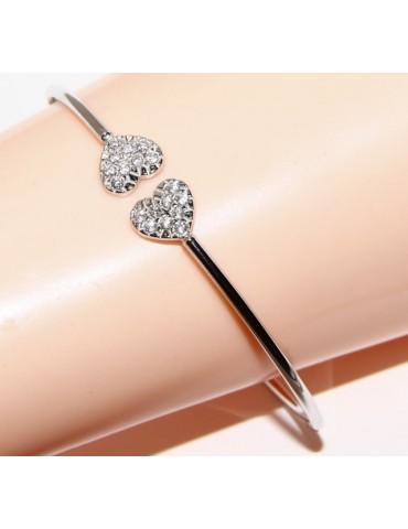SILVER 925: open bracelet slave woman's heart hearts natural zircons shining