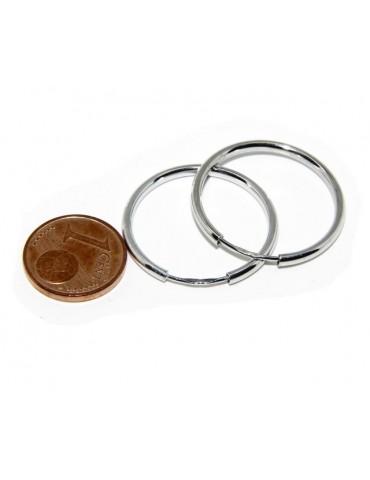 Argento 925 : orecchini donna anelle cerchi boccole lisce classiche 25 mm
