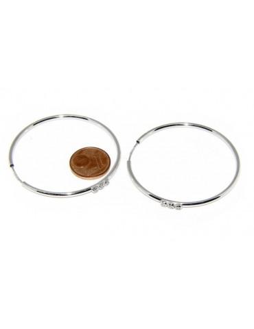 Argento 925 : orecchini donna anelle cerchi boccole classiche 45 mm trilogy zirconi naturali