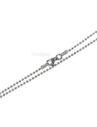SILVER 925: Choker necklace dots balls balls 1.5 mm different model lengths rhodium-plated white gold effect