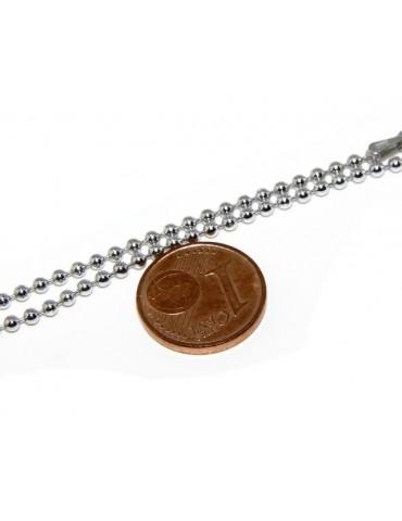 ARGENTO 925 : Girocollo collana pallini palline balls 2,0 mm varie lunghezze modello rodiata effetto oro bianco