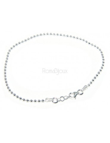 SILVER 925: Bracelet man woman with balls of 2 mm clear galvanic