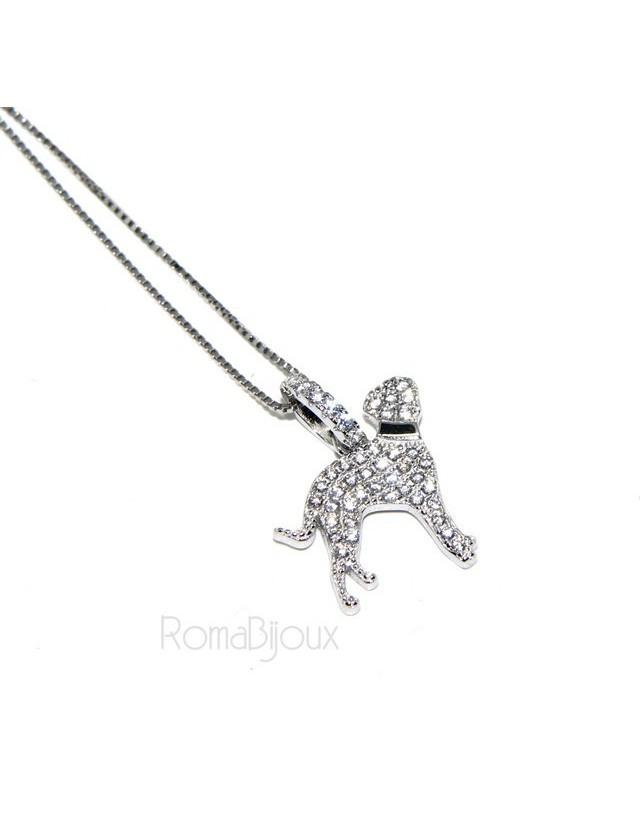 925: My Dog Venetian woman necklace with pendant dog DALMATA microsetting brilliant cubic zirconia