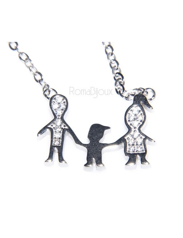 9925: Collier Necklace with central pendant family with unique baby son