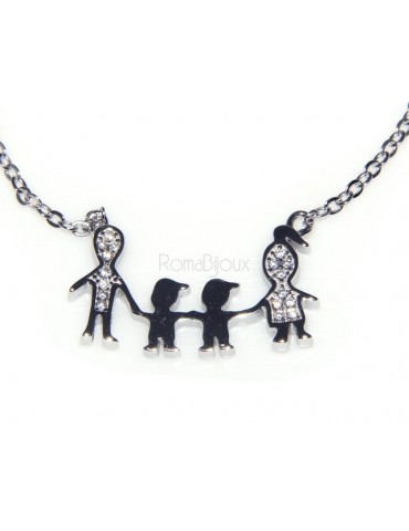 925: Collier Necklace with central pendant family with two male children