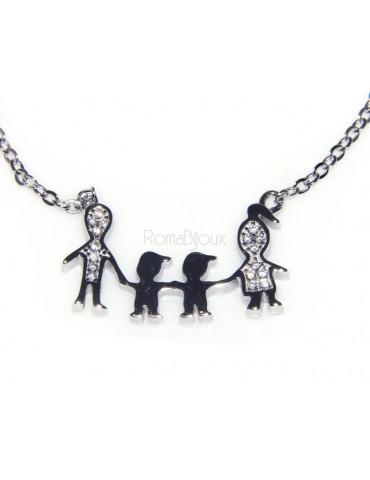 Argento 925 : Collana Collier donna pendente centrale famiglia con 2 bambini maschi