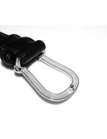 Belt in black calf man with buckle and grip in solid silver 925 100-115