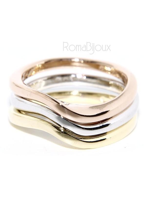 Argento 925 Italiano : anello 3 colori onde oro bianco giallo rosa fusione lucida