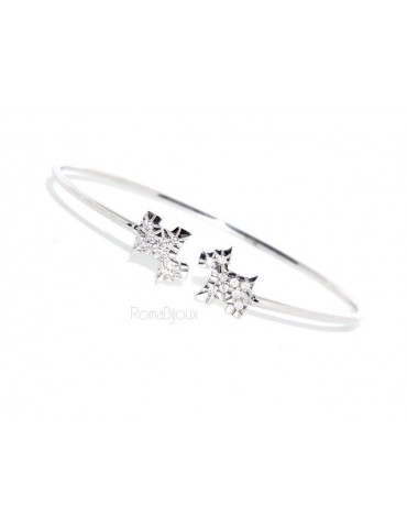 SILVER 925: Bracelet open natural zircons dog brilliant woman slave