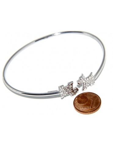 SILVER 925: Bracelet open natural zircons dog brilliant woman slave