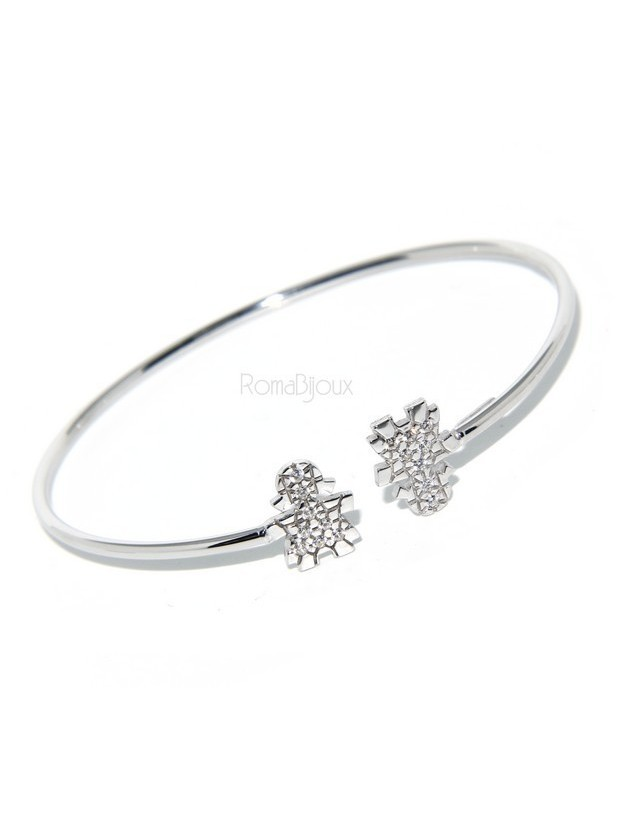 SILVER 925: woman bracelet slave girl opened bright white natural zircons