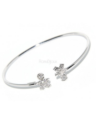 SILVER 925: woman bracelet open child slave bright white natural zircons
