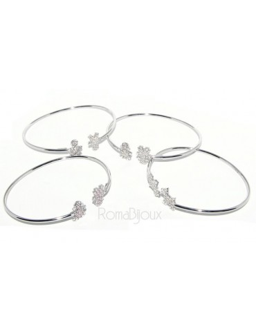 SILVER 925: woman bracelet open child slave bright white natural zircons