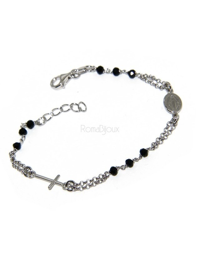 Rosary bracelet male female 925 silver Madonna image, cross and black crystal 17.00 19.50