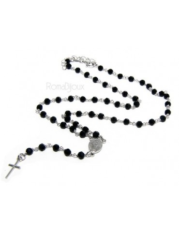 Rosary necklace man 925 With black crystal 4 mm cross and madonna 44 + 5