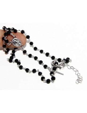 Collana Rosario uomo Argento 925 Con cristallo nero 4mm croce e madonna 44+5