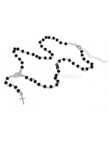 Rosary Necklace With 925 Silver Man crushed 4mm black crystal cross and madonna 45 + 5