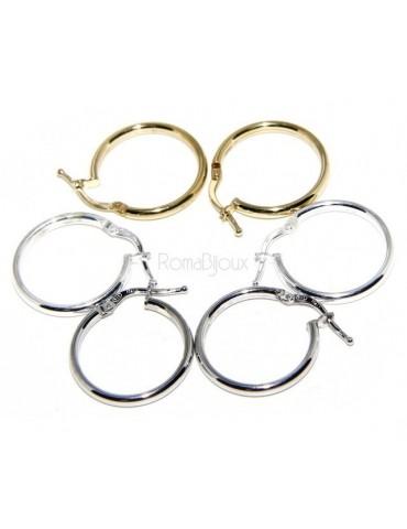 Argento 925 : orecchini donna anelle cerchi boccole lisce classiche 19 mm 3 colori