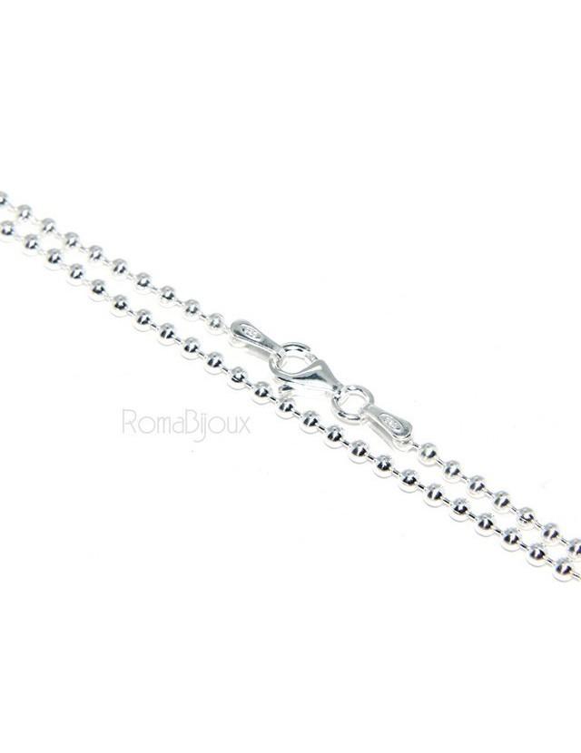 ARGENTO 925 : Girocollo collana pallini palline balls 2,0 mm varie lunghezze modello chiaro sbiancato