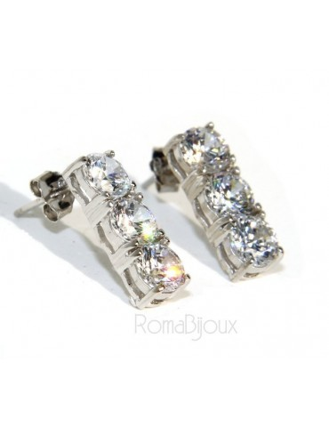 925: pair of trilogy woman tennis 3 cubic zirconia earrings 5mm