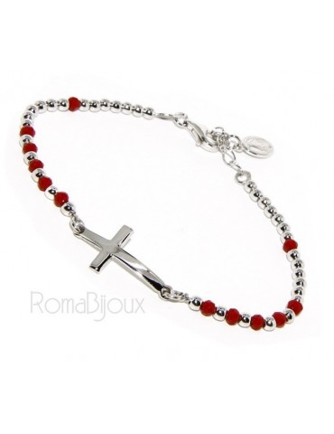 Bracelet rosary man in Silver 925 with Madonna picture, convex cross and red crystal. Mis from 17.00 to 20.00