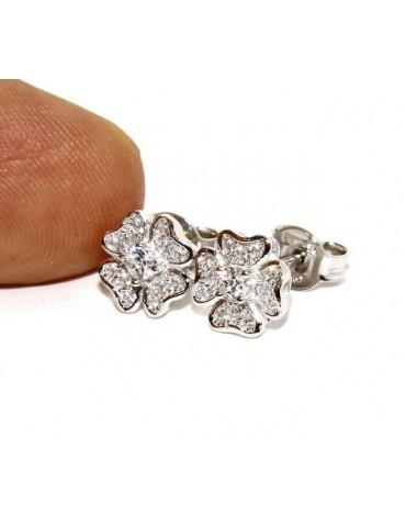 Argento 925 : orecchini donna stud quadrifoglio  pave' di zirconi bianchi microsetting
