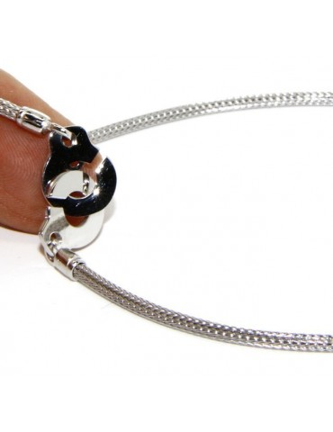 925: bracelet or necklace woman man fox tail wire with love handcuffs