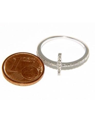 925 Rhodium-plated: Ring woman with microsetting cross zircons