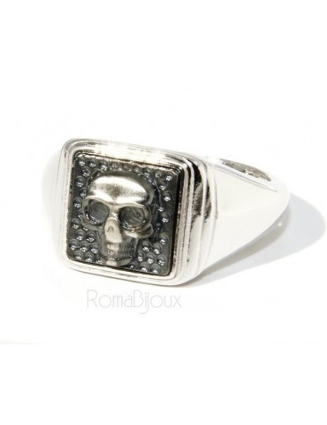 Ring 925 sterling silver men's little finger to the square skull size adjustable shield