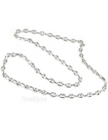 ARGENTO 925 : Collana girocollo o lunga bracciale maglia marina chiara 6x8, per uomo o donna