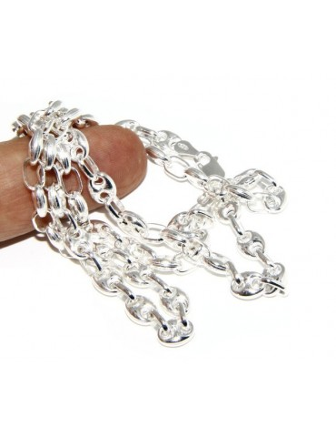 SILVER 925: Necklace or long clear marine link bracelet 6x8, for men or women