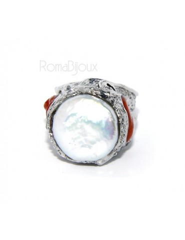 925: Adjustable Women's Ring handmade with natural gems and true red coral round bead
