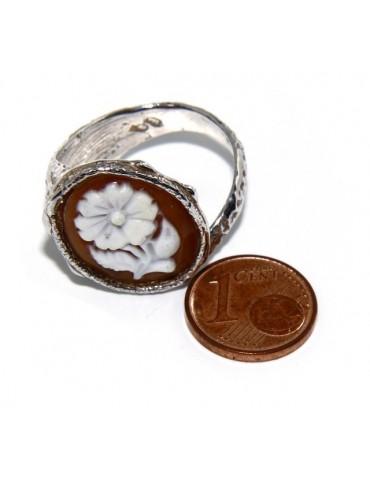 Argento 925 : Anello donna aperto anticato con cammeo ovale corniola scuro fiore