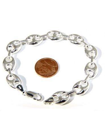 Man woman bracelet 925 Silver Rhodium no marine link 11x15 length 18,50 cm