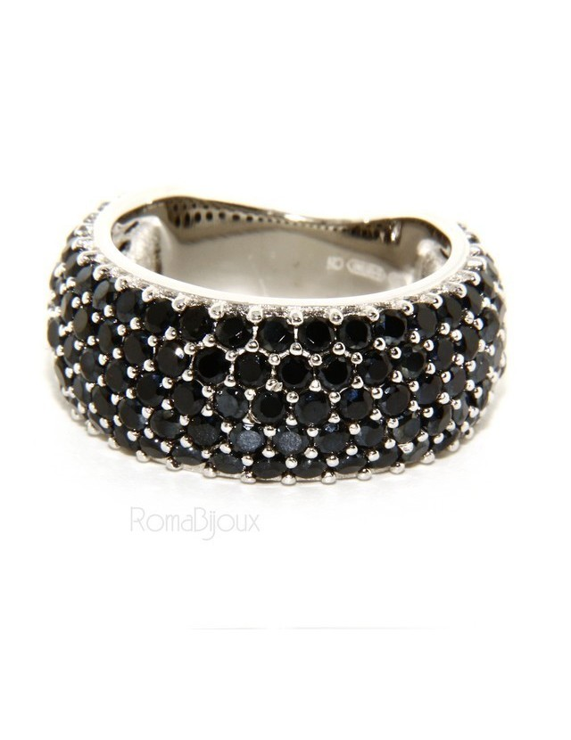 Argento 925 Rodiato : anello donna fascia fascione riviera con 5 file zirconi neri