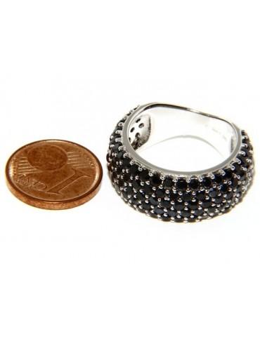925 Rhodium: end women ring apron Riviera with 5 blacks zircons file