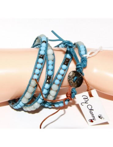 925: Bracelet Man Woman HIP HOP semi-precious turquoise aquamarine nuggets