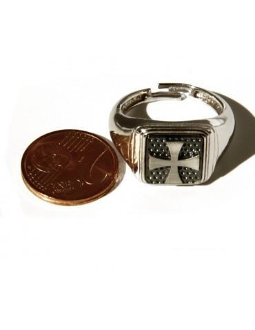 Anello Argento 925 da uomo mignolo a scudo quadrato croce maltese templare misura regolabile