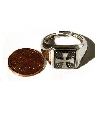 Ring 925 sterling silver men's little finger in a square shield Templar Maltese Cross adjustable size